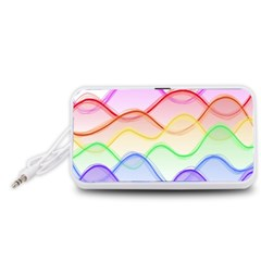 Twizzling Brain Waves Neon Wave Rainbow Color Pink Red Yellow Green Purple Blue Portable Speaker (White)