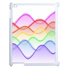 Twizzling Brain Waves Neon Wave Rainbow Color Pink Red Yellow Green Purple Blue Apple iPad 2 Case (White)