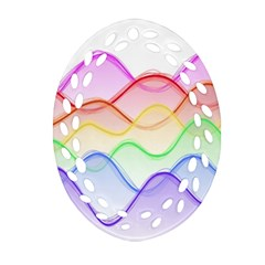 Twizzling Brain Waves Neon Wave Rainbow Color Pink Red Yellow Green Purple Blue Ornament (Oval Filigree)