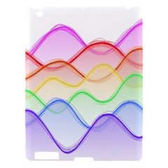 Twizzling Brain Waves Neon Wave Rainbow Color Pink Red Yellow Green Purple Blue Apple iPad 3/4 Hardshell Case