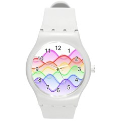 Twizzling Brain Waves Neon Wave Rainbow Color Pink Red Yellow Green Purple Blue Round Plastic Sport Watch (M)