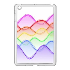 Twizzling Brain Waves Neon Wave Rainbow Color Pink Red Yellow Green Purple Blue Apple Ipad Mini Case (white)
