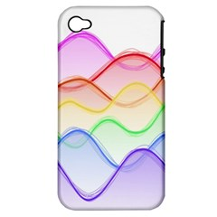 Twizzling Brain Waves Neon Wave Rainbow Color Pink Red Yellow Green Purple Blue Apple iPhone 4/4S Hardshell Case (PC+Silicone)