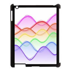 Twizzling Brain Waves Neon Wave Rainbow Color Pink Red Yellow Green Purple Blue Apple iPad 3/4 Case (Black)