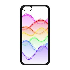 Twizzling Brain Waves Neon Wave Rainbow Color Pink Red Yellow Green Purple Blue Apple iPhone 5C Seamless Case (Black)