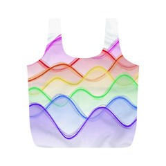 Twizzling Brain Waves Neon Wave Rainbow Color Pink Red Yellow Green Purple Blue Full Print Recycle Bags (M)