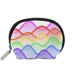 Twizzling Brain Waves Neon Wave Rainbow Color Pink Red Yellow Green Purple Blue Accessory Pouches (Small)