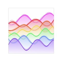 Twizzling Brain Waves Neon Wave Rainbow Color Pink Red Yellow Green Purple Blue Small Satin Scarf (Square)