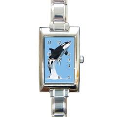 Whale Animals Sea Beach Blue Jump Illustrations Rectangle Italian Charm Watch