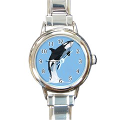 Whale Animals Sea Beach Blue Jump Illustrations Round Italian Charm Watch