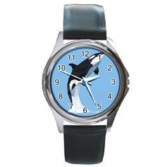 Whale Animals Sea Beach Blue Jump Illustrations Round Metal Watch