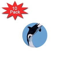 Whale Animals Sea Beach Blue Jump Illustrations 1  Mini Buttons (10 pack)