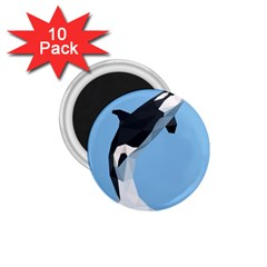 Whale Animals Sea Beach Blue Jump Illustrations 1 75  Magnets (10 Pack)