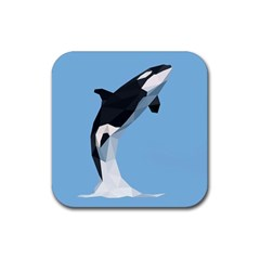 Whale Animals Sea Beach Blue Jump Illustrations Rubber Coaster (Square)