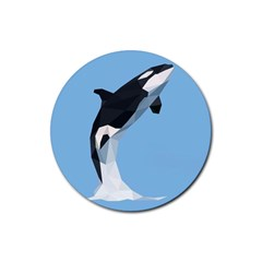Whale Animals Sea Beach Blue Jump Illustrations Rubber Round Coaster (4 pack)