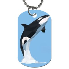 Whale Animals Sea Beach Blue Jump Illustrations Dog Tag (two Sides)
