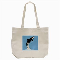 Whale Animals Sea Beach Blue Jump Illustrations Tote Bag (Cream)