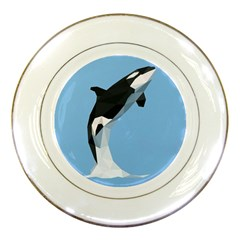 Whale Animals Sea Beach Blue Jump Illustrations Porcelain Plates