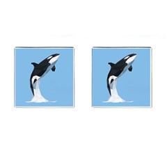 Whale Animals Sea Beach Blue Jump Illustrations Cufflinks (Square)