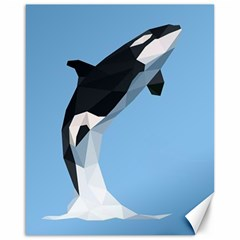 Whale Animals Sea Beach Blue Jump Illustrations Canvas 16  x 20