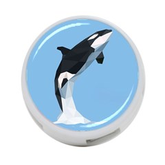 Whale Animals Sea Beach Blue Jump Illustrations 4-Port USB Hub (Two Sides)