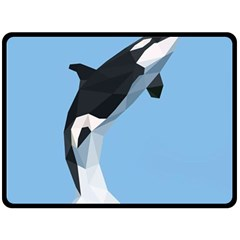 Whale Animals Sea Beach Blue Jump Illustrations Fleece Blanket (Large)