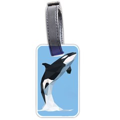 Whale Animals Sea Beach Blue Jump Illustrations Luggage Tags (two Sides)