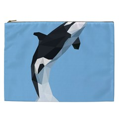 Whale Animals Sea Beach Blue Jump Illustrations Cosmetic Bag (XXL)