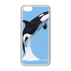 Whale Animals Sea Beach Blue Jump Illustrations Apple iPhone 5C Seamless Case (White)