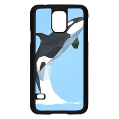 Whale Animals Sea Beach Blue Jump Illustrations Samsung Galaxy S5 Case (Black)