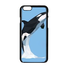 Whale Animals Sea Beach Blue Jump Illustrations Apple iPhone 6/6S Black Enamel Case