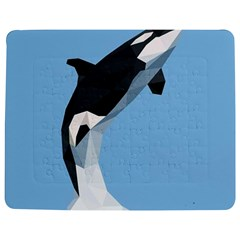 Whale Animals Sea Beach Blue Jump Illustrations Jigsaw Puzzle Photo Stand (rectangular)
