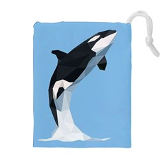 Whale Animals Sea Beach Blue Jump Illustrations Drawstring Pouches (Extra Large)