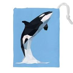 Whale Animals Sea Beach Blue Jump Illustrations Drawstring Pouches (XXL)