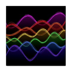 Twizzling Brain Waves Neon Wave Rainbow Color Pink Red Yellow Green Purple Blue Black Tile Coasters
