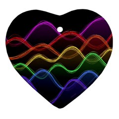 Twizzling Brain Waves Neon Wave Rainbow Color Pink Red Yellow Green Purple Blue Black Ornament (heart)