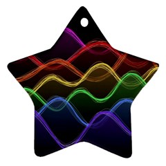 Twizzling Brain Waves Neon Wave Rainbow Color Pink Red Yellow Green Purple Blue Black Ornament (Star)