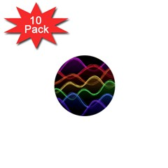 Twizzling Brain Waves Neon Wave Rainbow Color Pink Red Yellow Green Purple Blue Black 1  Mini Buttons (10 pack)