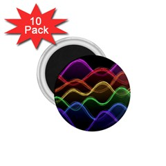 Twizzling Brain Waves Neon Wave Rainbow Color Pink Red Yellow Green Purple Blue Black 1 75  Magnets (10 Pack)