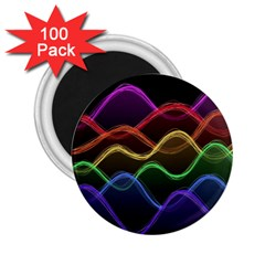 Twizzling Brain Waves Neon Wave Rainbow Color Pink Red Yellow Green Purple Blue Black 2.25  Magnets (100 pack)