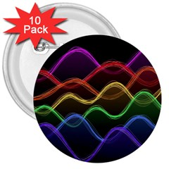 Twizzling Brain Waves Neon Wave Rainbow Color Pink Red Yellow Green Purple Blue Black 3  Buttons (10 Pack)