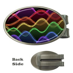 Twizzling Brain Waves Neon Wave Rainbow Color Pink Red Yellow Green Purple Blue Black Money Clips (oval)