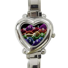 Twizzling Brain Waves Neon Wave Rainbow Color Pink Red Yellow Green Purple Blue Black Heart Italian Charm Watch