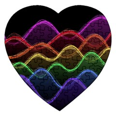 Twizzling Brain Waves Neon Wave Rainbow Color Pink Red Yellow Green Purple Blue Black Jigsaw Puzzle (Heart)