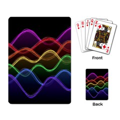 Twizzling Brain Waves Neon Wave Rainbow Color Pink Red Yellow Green Purple Blue Black Playing Card