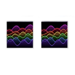 Twizzling Brain Waves Neon Wave Rainbow Color Pink Red Yellow Green Purple Blue Black Cufflinks (square)