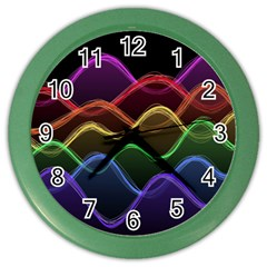 Twizzling Brain Waves Neon Wave Rainbow Color Pink Red Yellow Green Purple Blue Black Color Wall Clocks