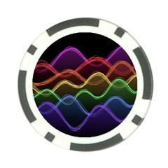 Twizzling Brain Waves Neon Wave Rainbow Color Pink Red Yellow Green Purple Blue Black Poker Chip Card Guard