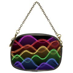 Twizzling Brain Waves Neon Wave Rainbow Color Pink Red Yellow Green Purple Blue Black Chain Purses (One Side)