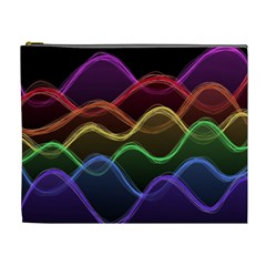 Twizzling Brain Waves Neon Wave Rainbow Color Pink Red Yellow Green Purple Blue Black Cosmetic Bag (XL)